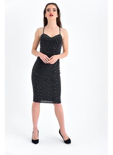 Jument Sırt Dekolteli Ip Askılı Abiye Elbise - Siyah Siyah